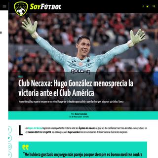 Club Necaxa- Hugo González menosprecia la victoria ante el Club América - Soy Fútbol