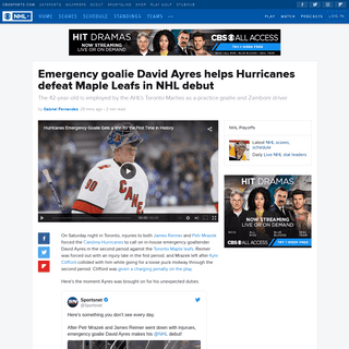 Emergency goalie David Ayres helps Hurricanes defeat Maple Leafs in NHL debut - CBSSports.com