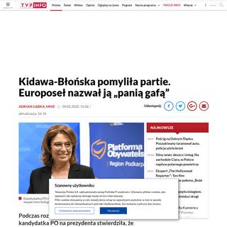 """Polityk PiS-u twierdzi, że kandydatka PO na prezydenta to """"pani gafa"""" wieszwiecej - tvp.info"""