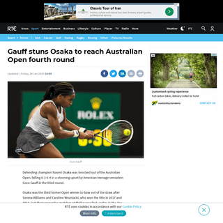 Gauff stuns Osaka to reach Australian Open fourth round