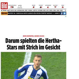 Hertha BSC – Mainz 05- Darum spielten Berliner Profis mit schwarzem Strich im Gesicht - Bundesliga - Bild.de