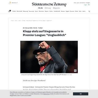 Fußball - Klopp stolz auf Siegesserie in Premier League--Unglaublich- - Sport - SZ.de