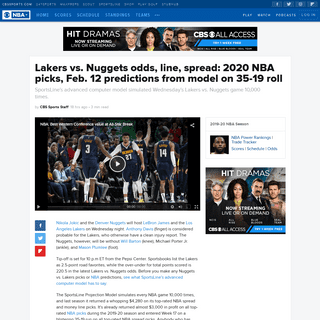 Lakers vs. Nuggets odds, line, spread- 2020 NBA picks, Feb. 12 predictions from model on 35-19 roll - CBSSports.com