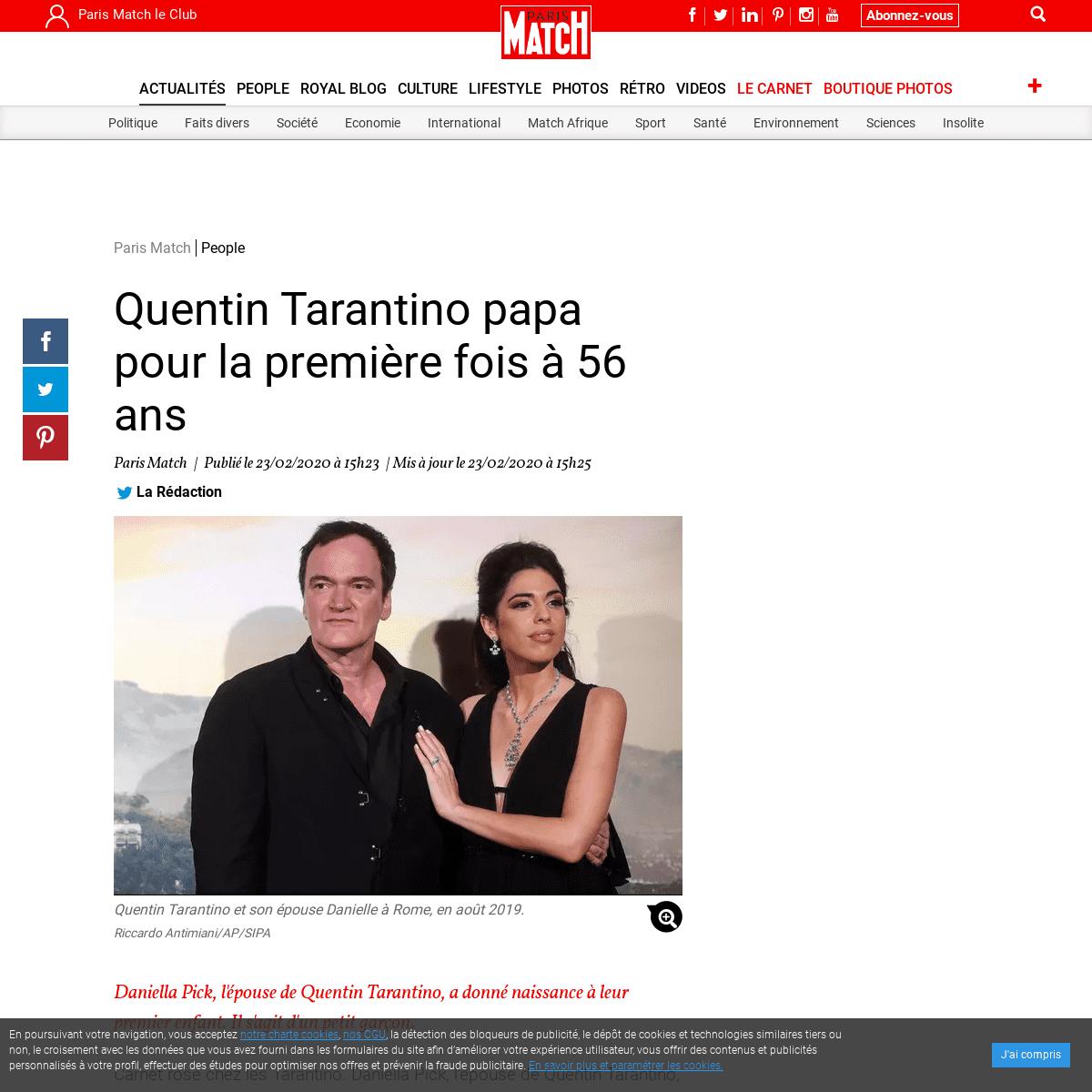 Quentin Tarantino papa pour la première fois à 56 ans