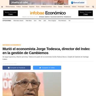 Murió el economista Jorge Todesca, director del Indec en la gestión de Cambiemos - Infobae