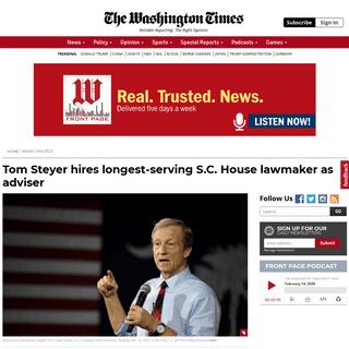 ArchiveBay.com - www.washingtontimes.com/news/2020/feb/12/tom-steyer-hires-longest-serving-sc-house-lawmaker/ - Tom Steyer hires longest-serving S.C. House lawmaker as adviser - Washington Times