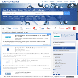 Research Science Jobs or Scientific Postdocs in Europe