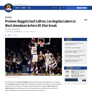 Preview- Nuggets host LeBron, Los Angeles Lakers in West showdown before All-Star break - Denver Stiffs