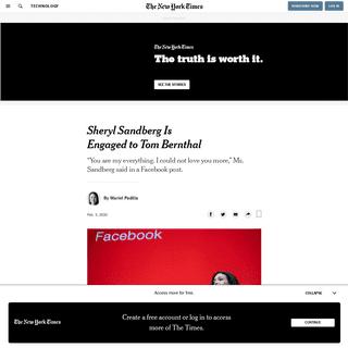 Sheryl Sandberg Is Engaged to Tom Bernthal - The New York Times