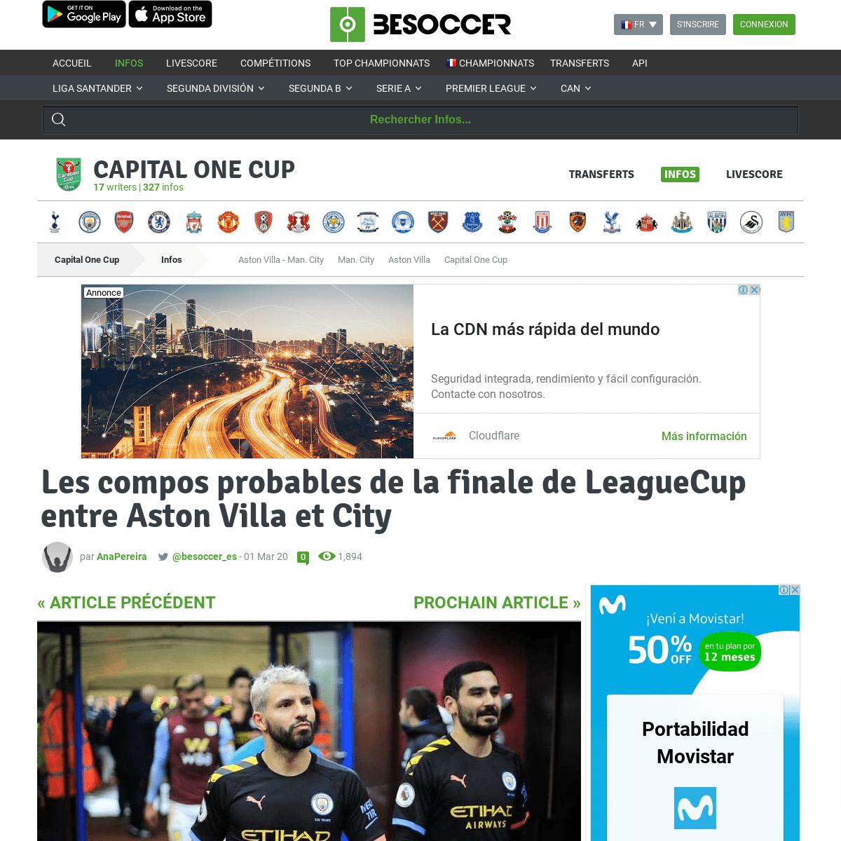 Les compos probables de la finale de LeagueCup entre Aston Villa et City - BeSoccer