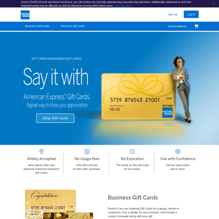 Business & Personal Gift Cards - American Express Gift Cards