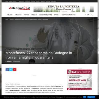 Montefusco, 27enne torna da Codogno in Irpinia- famiglia in quarantena