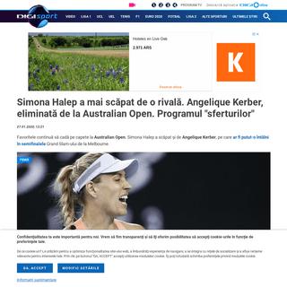 Simona Halep a mai scăpat de o rivală. Angelique Kerber, eliminată de la Australian Open. Programul -sferturilor-