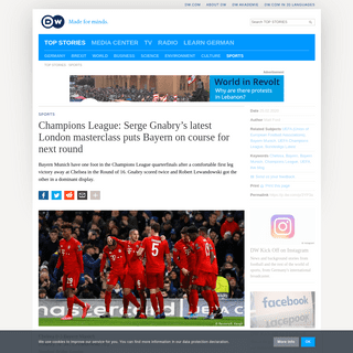 Champions League- Serge Gnabry's latest London masterclass puts Bayern on course for next round - Sports- German football and