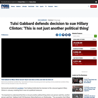 ArchiveBay.com - www.foxbusiness.com/money/tulsi-gabbard-defends-lawsuit-hillary-clinton-politics - Tulsi Gabbard defends decision to sue Hillary Clinton- 'This is not just another political thing' - Fox Business