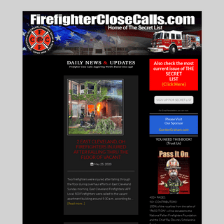 Firefighter Close Calls - Home of the Secret List