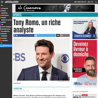 Tony Romo, un riche analyste - Le Journal de Montréal