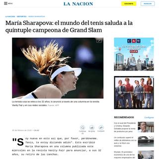 María Sharapova- el mundo del tenis saluda a la quíntuple campeona de Grand Slam - LA NACION