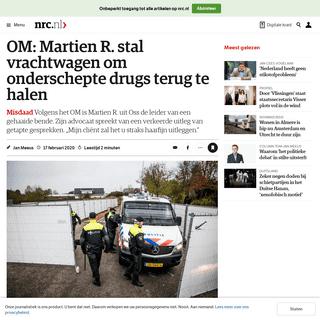 OM- Martien R. stal vrachtwagen om onderschepte drugs terug te halen - NRC
