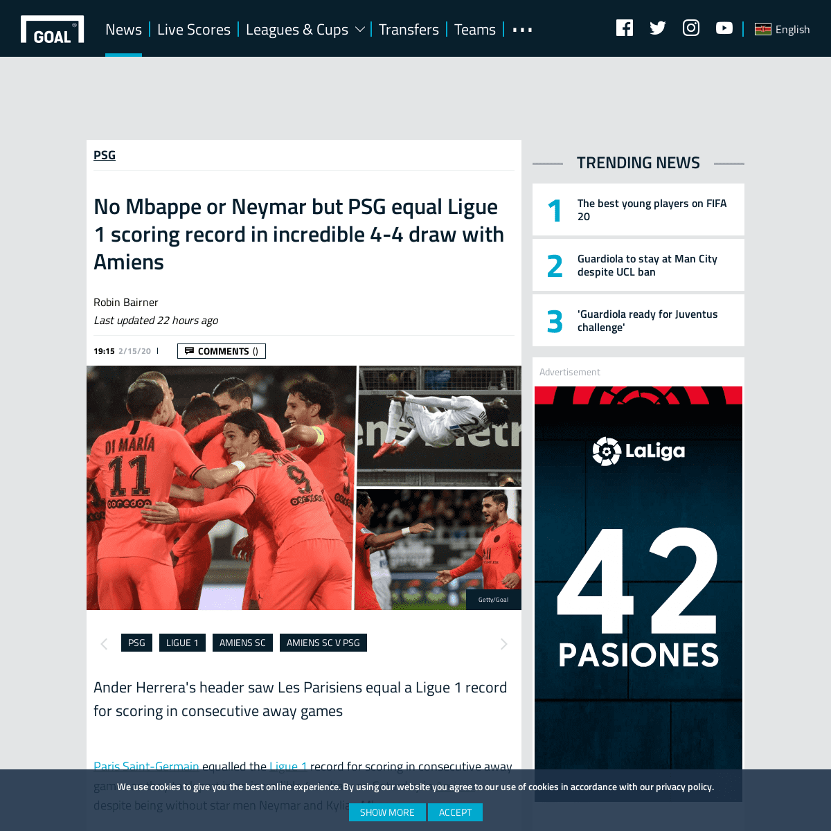 No Mbappe or Neymar but PSG equal Ligue 1 scoring record in incredible 4-4 draw with Amiens - Goal.com