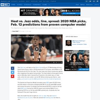 Heat vs. Jazz odds, line, spread- 2020 NBA picks, Feb. 12 predictions from proven computer model - CBSSports.com