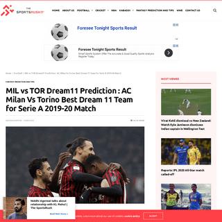 MIL vs TOR Dream11 Prediction - AC Milan Vs Torino Best Dream 11 Team for Serie A 2019-20 Match - The SportsRush