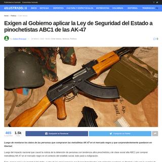 Exigen al Gobierno aplicar la Ley de Seguridad del Estado a pinochetistas ABC1 de las AK-47