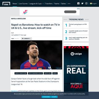 Napoli vs Barcelona- How to watch on TV in UK & U.S., live stream, kick-off time - Goal.com