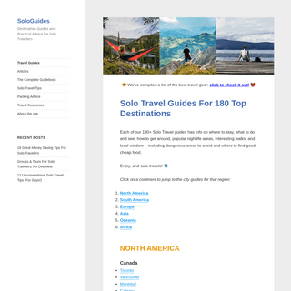 SoloGuides - Destination Guides and Practical Advice for Solo Travelers
