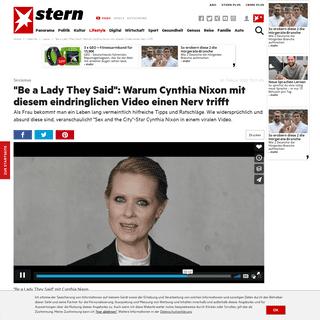 -Be a Lady They Said-- Warum Cynthia Nixon mit diesem Video einen Nerv trifft - STERN.de