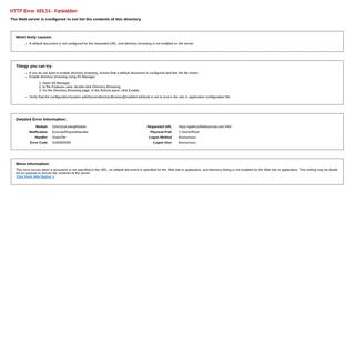 IIS 10.0 Detailed Error - 403.14 - Forbidden
