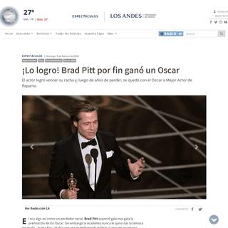 ¡Lo logro! Brad Pitt por fin ganó un Oscar