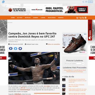 Campeão, Jon Jones é bem favorito contra Dominick Reyes no UFC 247 - Super Lutas