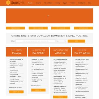 GratisDNS – Stort udvalg af domæner. SSL certifikater til gode priser. Simpel hosting.
