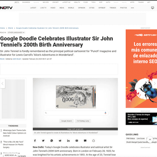 ArchiveBay.com - www.ndtv.com/world-news/google-doodle-celebrates-illustrator-sir-john-tenniels-birth-anniversary-2186925 - Google Doodle Celebrates Illustrator Sir John Tenniel's 200th Birth Anniversary