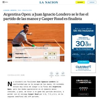 Argentina Open- a Juan Ignacio Londero se le fue el partido de las manos y Casper Ruud es finalista - LA NACION