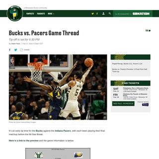 Bucks vs. Pacers Game Thread - Brew Hoop