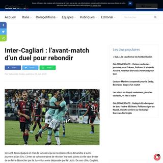 Inter-Cagliari - l'avant-match d'un duel pour rebondir