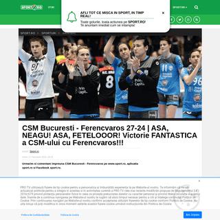 CSM Bucuresti - Ferencvaros 27-24 -ASA, NEAGU! ASA, FETELOOOR! Victorie FANTASTICA a CSM-ului cu Ferencvaros!!! - Sport.ro