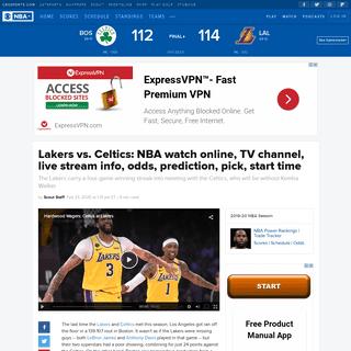 ArchiveBay.com - www.cbssports.com/nba/news/lakers-vs-celtics-nba-watch-online-tv-channel-live-stream-info-odds-prediction-pick-start-time/ - Lakers vs. Celtics- NBA watch online, TV channel, live stream info, odds, prediction, pick, start time - CBSSports.com