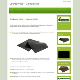 www.unkrautvlies.de - Dauerhafte Unkrautbekämpfung- Unkrautfolie, Unkrautvlies und Gartenvlies