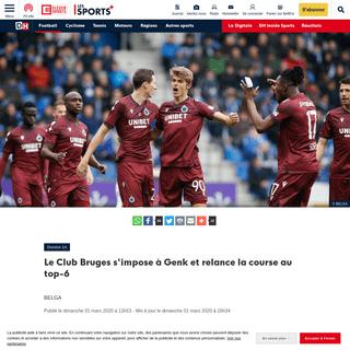 Le Club Bruges s'impose à Genk et relance la course au top-6 - DH Les Sports+