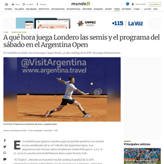ArchiveBay.com - mundod.lavoz.com.ar/tenis/a-que-hora-juega-londero-las-semis-y-el-programa-del-sabado-en-el-argentina-open - A qué hora juega Londero las semis y el programa del sábado en el Argentina Open - Mundo D