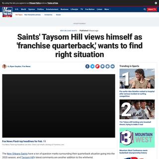 ArchiveBay.com - www.foxnews.com/sports/saints-taysom-hill-franchise-quarterback-right-opportunity - Saints' Taysom Hill views himself as 'franchise quarterback,' wants to find right situation - Fox News