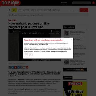 Hooverphonic propose un titre poignant pour l'Eurovision - Moustique.be