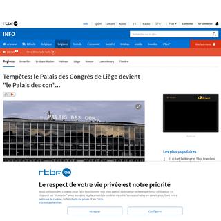 Tempêtes- le Palais des Congrès de Liège devient -le Palais des con-...