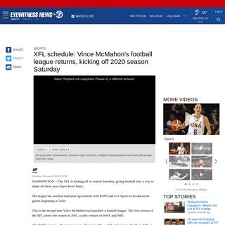 XFL schedule- Vince McMahon's football league returns, kicking off 2020 season Saturday - abc7ny.com