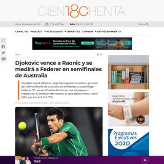180.com.uy -- Djokovic vence a Raonic y se medirá a Federer en semifinales de Australia