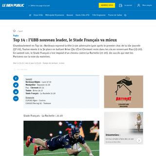 Sport - Top 14 - l'UBB nouveau leader, le Stade Français va mieux