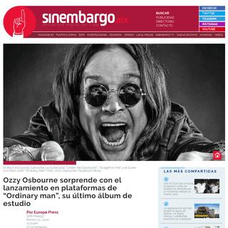 Ozzy Osbourne sorprende con el lanzamiento en plataformas de -Ordinary man-, su último álbum de estudio - SinEmbargo MX